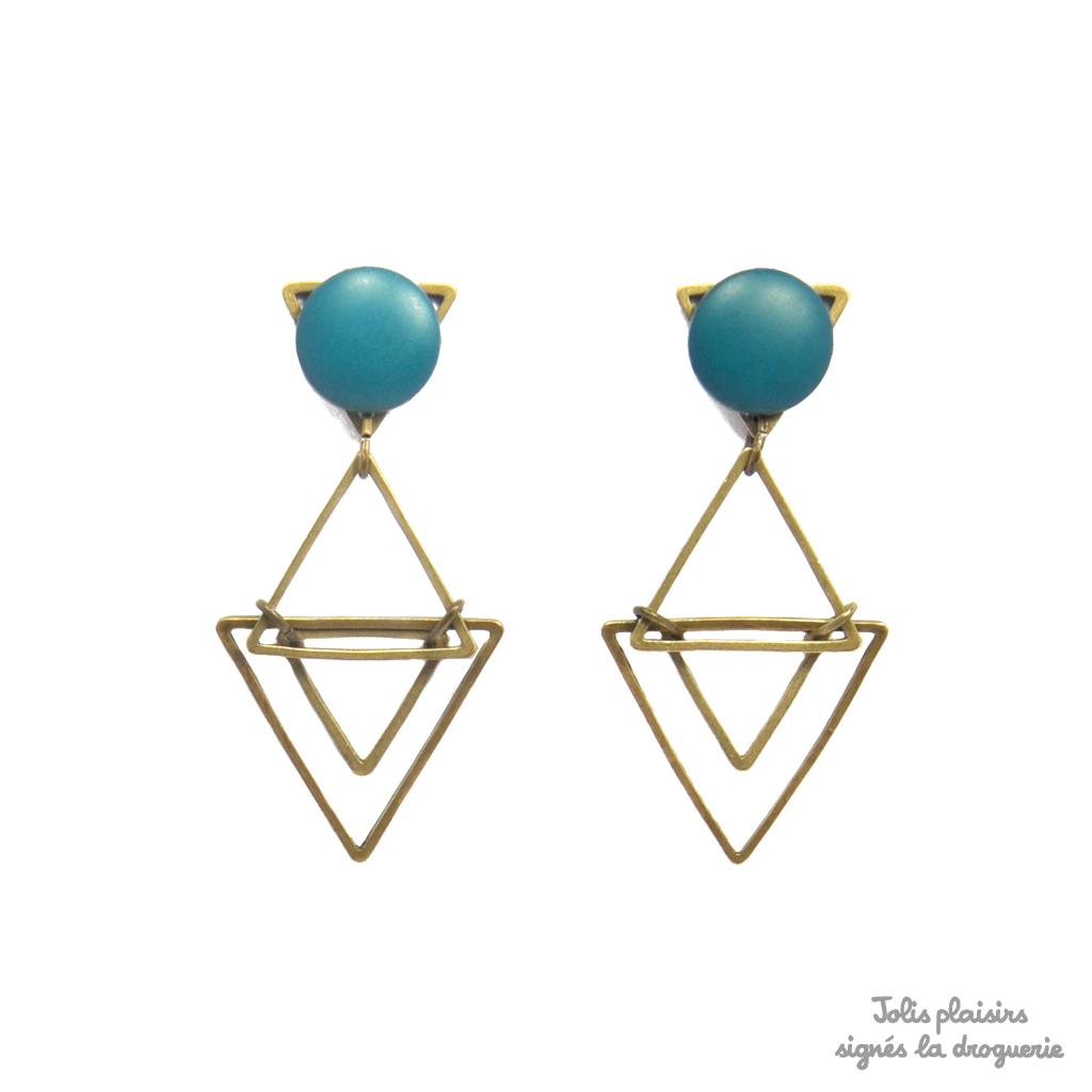 les clients d'abord belle couleur fournisseur officiel Les boucles d'oreilles triangles