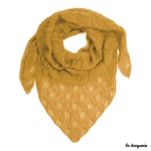 tricoter un grand chale pour femme miel