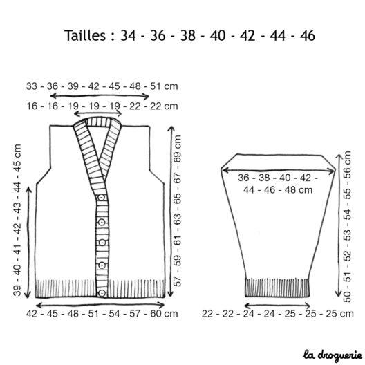 Schema des tailles veste de tricot de Buci | La Droguerie