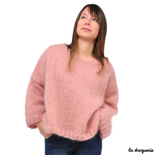 Tricoter un pull femme en mohair col rond