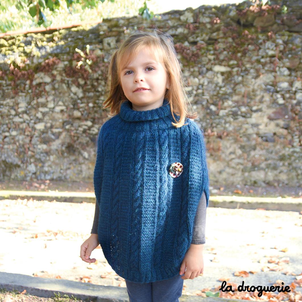 d08eddebe04 Kit A Tricoter Poncho Fille point mousse Quimper