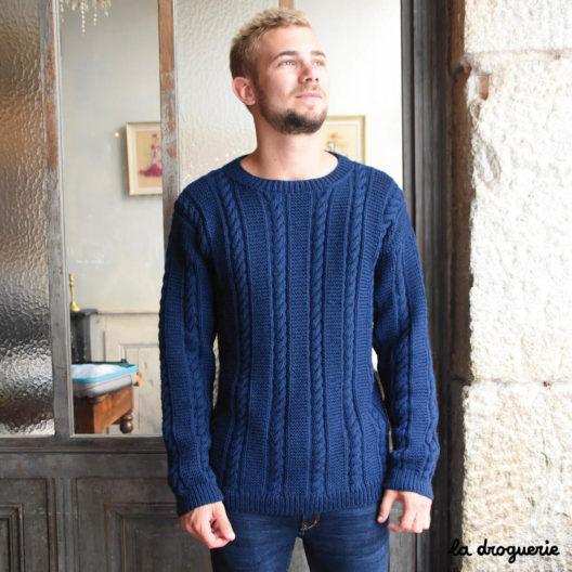 tricoter pull homme irlandais La Droguerie