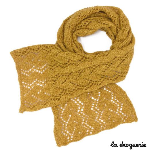 Fiche tricot de l'écharpe Place Bellecour avec son motif dentelle La Droguerie