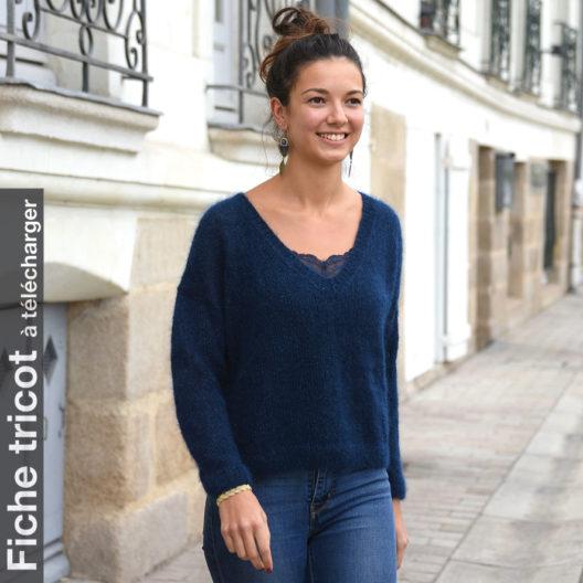 Téléchargez la fiche tricot du pull col V Clisson La Droguerie