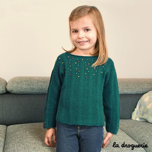 15ef9724ebfde tricoter pull enfant facile en Duvet d'Anjou La Droguerie · tricoter pull  enfant col rond ...