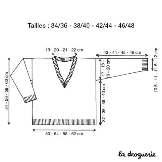 schéma et mesures du pull encolure V clisson
