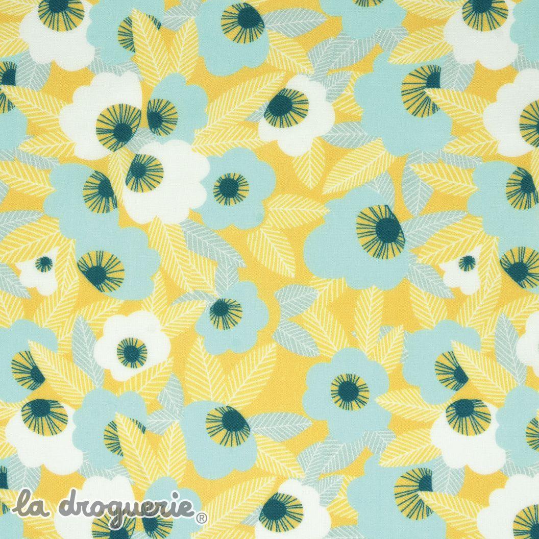 tissu fleurs du vent lagon
