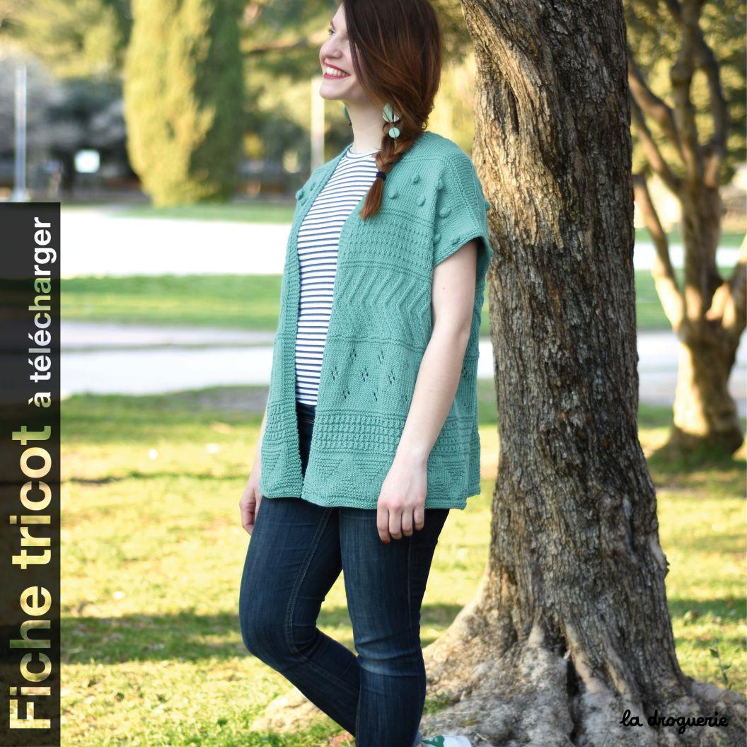 Modele tricot gilet sans manche pour femme