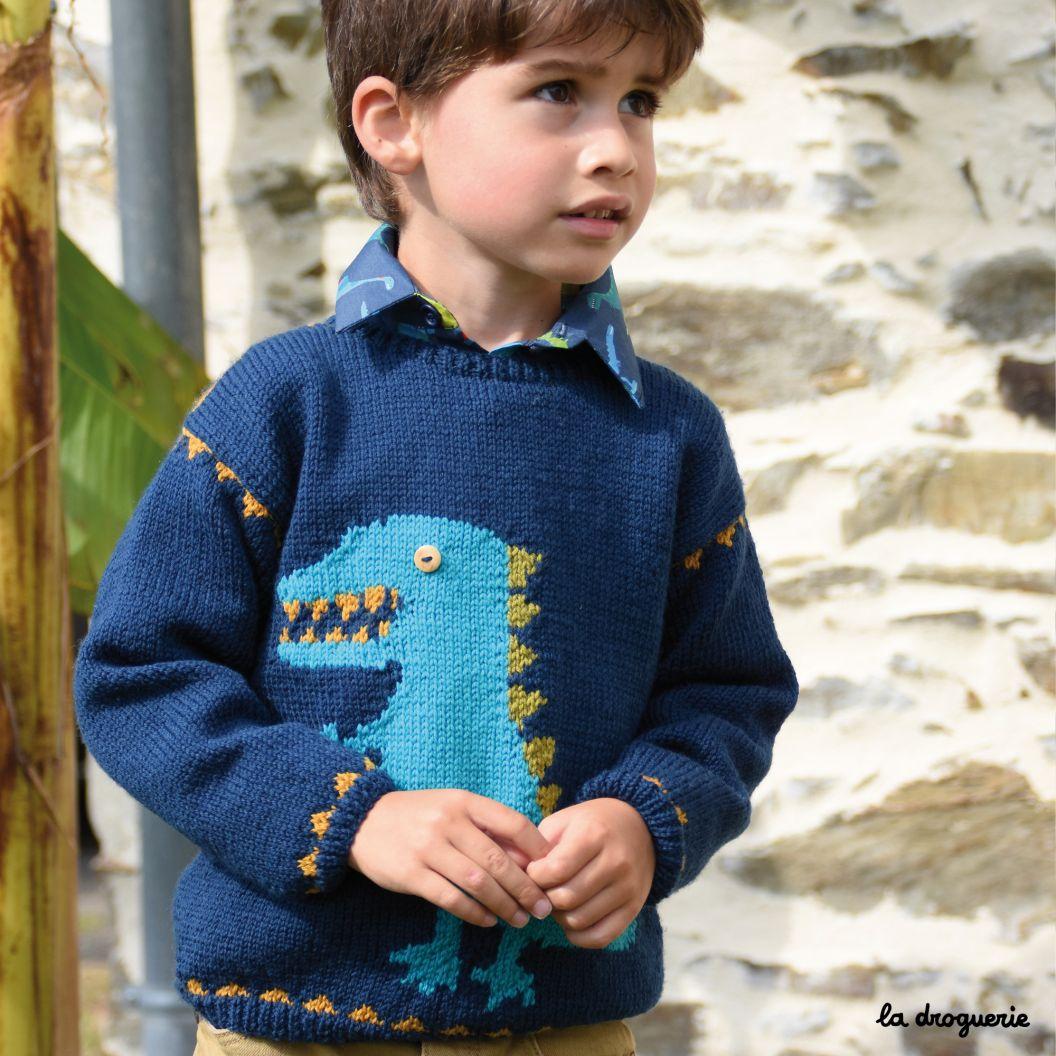 Kit A Tricoter Du Pull Enfant Dinos Dingos La Droguerie